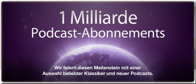 1 Milliarde Podcast Abonnements in iTunes
