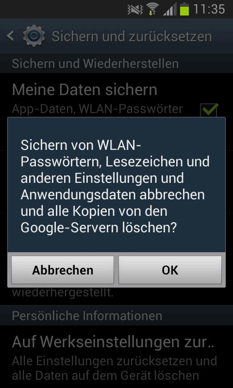 Android Passwörter löschen