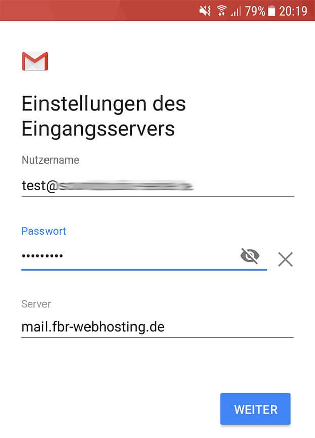 Nutzername Passwort Android Posteingang Server Einstellungen Imap pop3