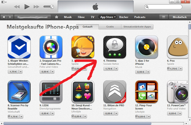 Threema in den App Store Charts