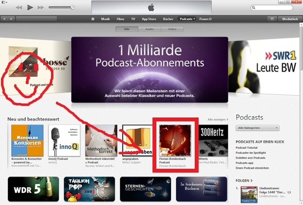 Apple iTunes Podcast Sonderseite