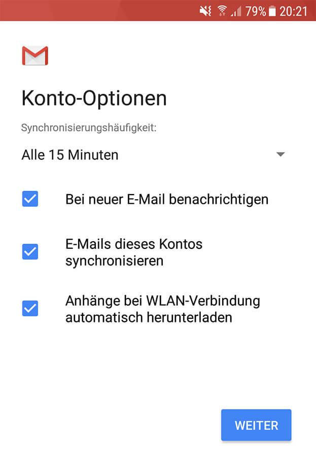 Email Synchronisierung wie oft Smartphone Handy Gmail
