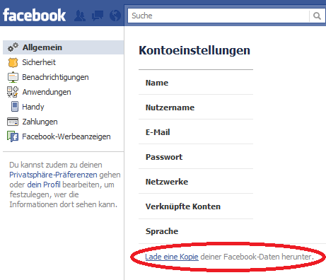 facebook userdaten runterladen