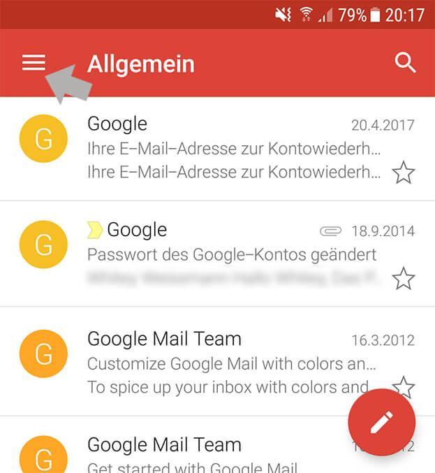 Gmail App Android wie externe Email Adresse hinzufügen