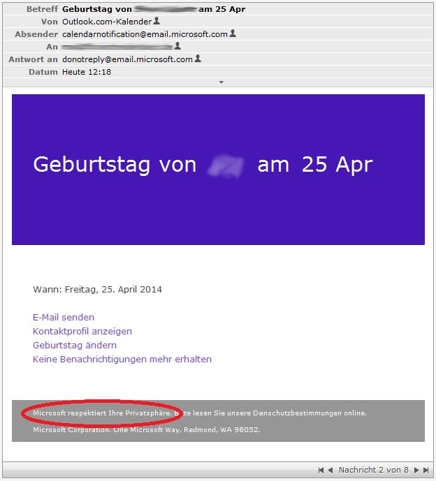 microsoft birthday calendar deleted still getting notifications
