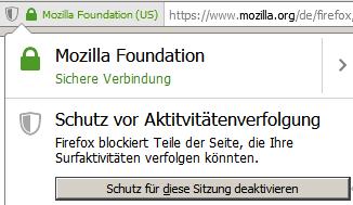 Mozilla Schutz vor Aktivitätenverfolgung ausschalten