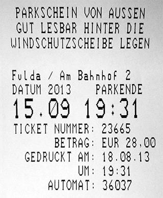Parkschein Fulda Strafzettel