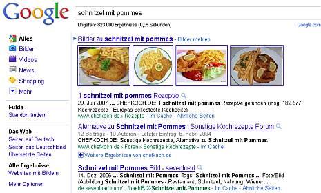 google universal search schnitzel mit pommes